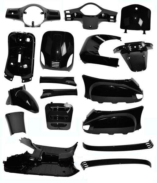 Afbeelding van Plaatwerk, Kappenset geheel compleet glans zwart voor AGM VX50, BTC Riva en vespelini