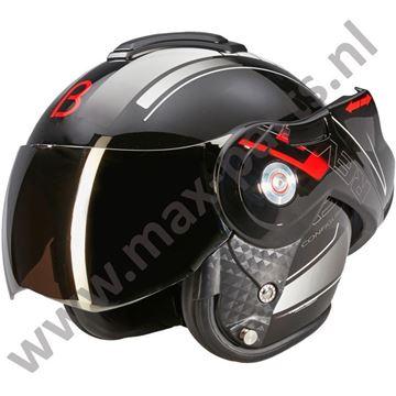Afbeeldingen van Beon Helm B702 Reverse V8 model Boxer 180 graden systeem Zwart/Rood