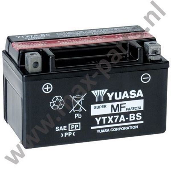 Picture of Accu Yuasa YTX7A-BS 7A Voor bijna alle 4 tact scooters