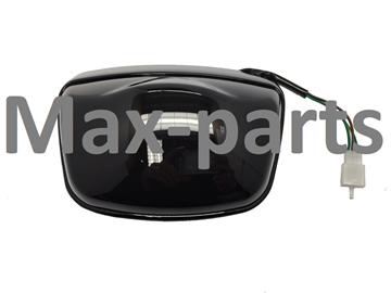 Afbeeldingen van Achterlicht LED SMOKE compleet met glans zwarte rand voor model AGM VX50, BTC Riva, DJJD Cashmere, Killerbee VXL vespa look a like met E-keur