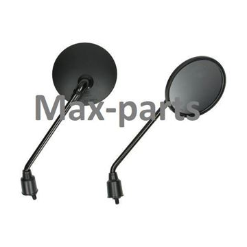 Afbeeldingen van Spiegelset zwart M8 voor model VX50 & VX50s vespa look a like