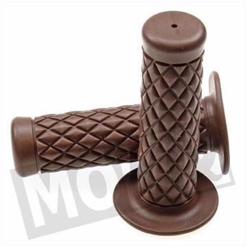 Afbeeldingen van Handvatten set L+R dama bruin luxe ruit PVC